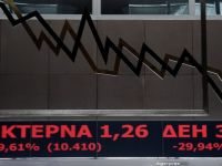 Martea neagra. Actiunile Piraeus Bank, National Bank of Greece, Alpha Bank si Eurobank, prezente si in Romania, declin de aproape 30%, nivelul maxim permis pe Bursa de la Atena