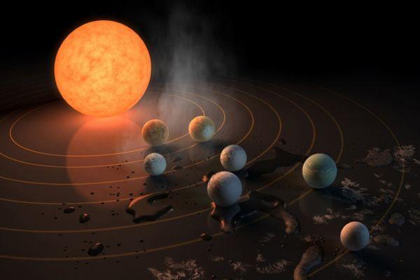 NASA a descoperit sapte exoplanete de marimea Terrei intr-un singur sistem solar, denumit Trappist-1, aflat la o distanta de 40 de ani-lumina fata de Soare. Descoperirea reprezinta un nou record in domeniul cercetarii spatiale. Foto: NASA/JPL-Caltech