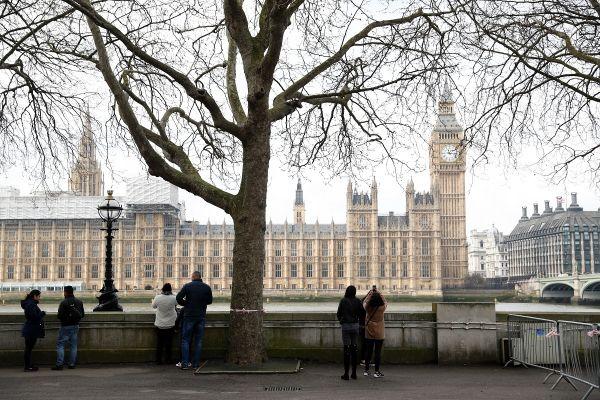 Cativa turisti privesc Palatul Parlamentului de la Londra, la o zi dupa atentatul terorist, soldat cu 4 morti si peste 40 de raniti. Atacul a fost revendicat de ISIS. Foto: ADRIAN DENNIS/AFP/Getty Images/Guliver