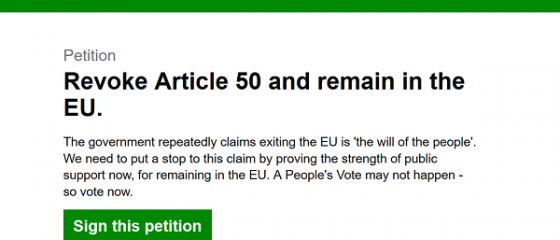 O petiție prin care se cere revocarea Brexitului ajunge la un milion de semnături, la mai puțin de 24 de ore